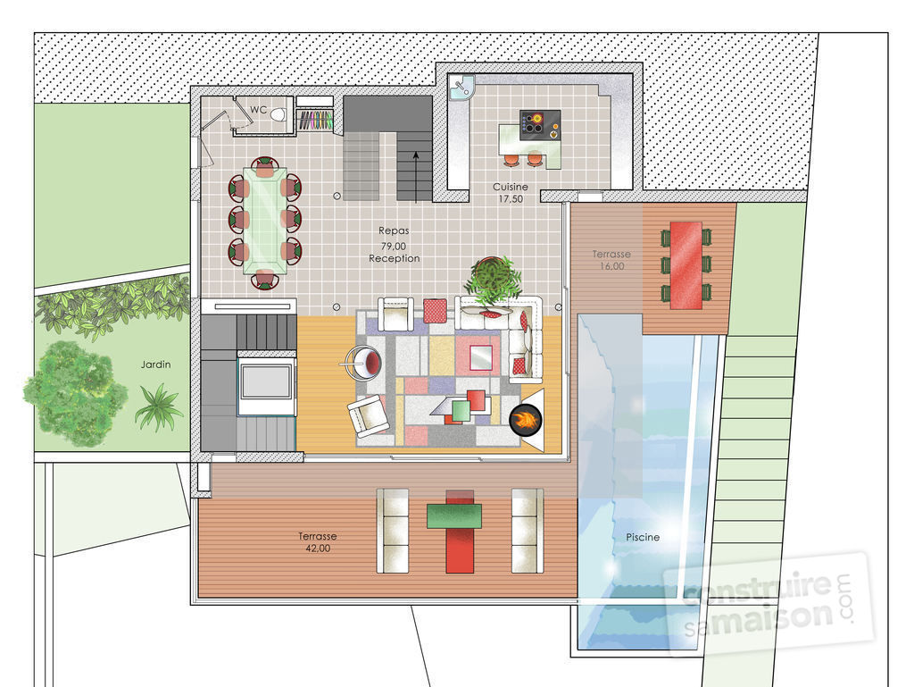 Plan de maison moderne avec etage great excellent prvenant maison moderne plan plan maison for Maison avec plan