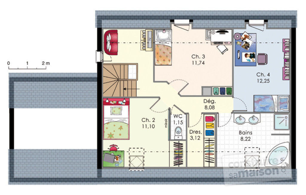 Plan interieur maison contemporaine etage for Plan maison moderne a etage