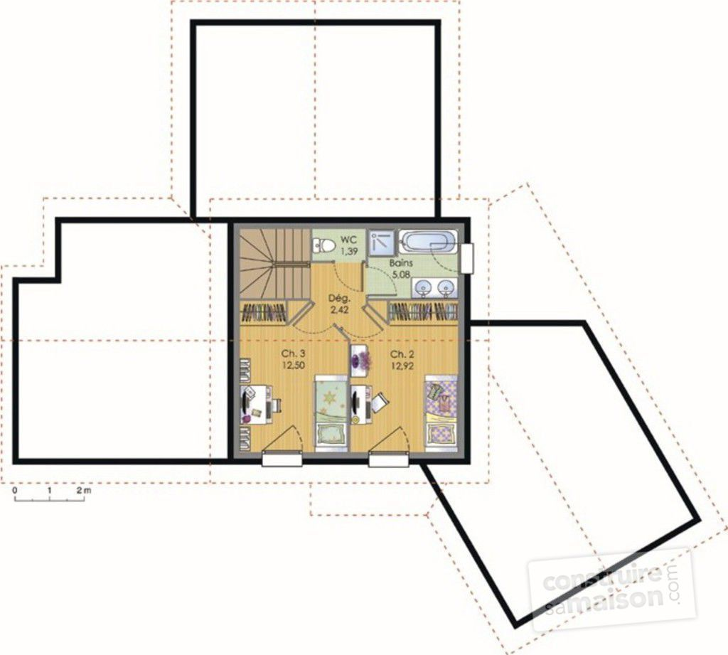 Maison contemporaine d tail du plan de maison for Ajouter un etage a une maison
