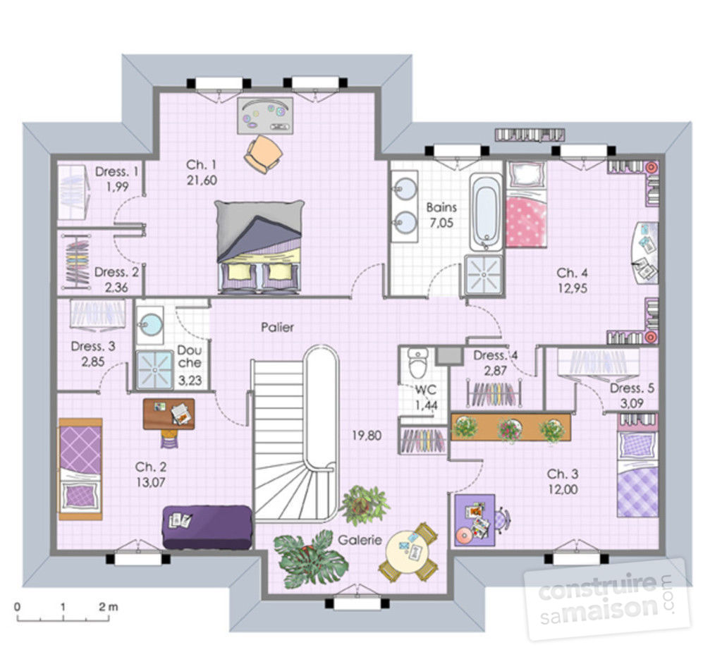 Plan interieur maison etage for Plan maison contemporaine a etage
