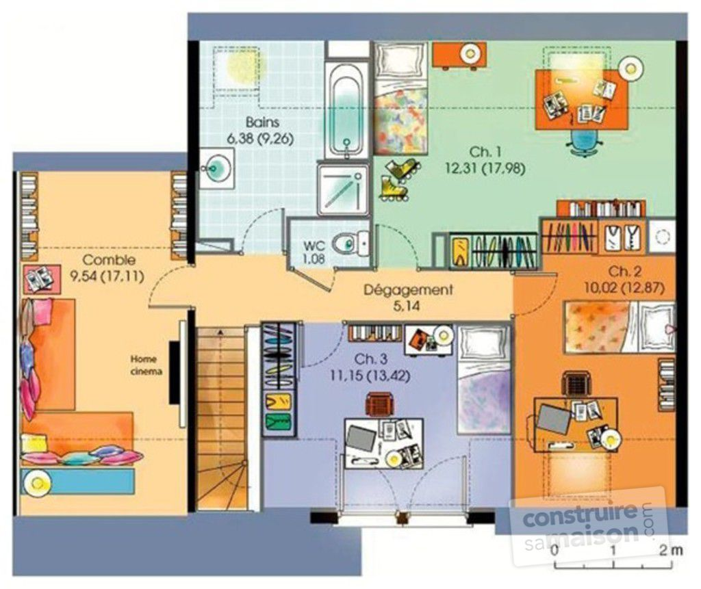 Maison contemporaine 5 d tail du plan de maison for Plan maison 4 chambres etage