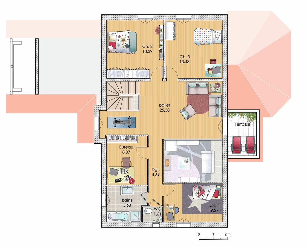 Plan habillé etage maison une maison familiale de 215 m2