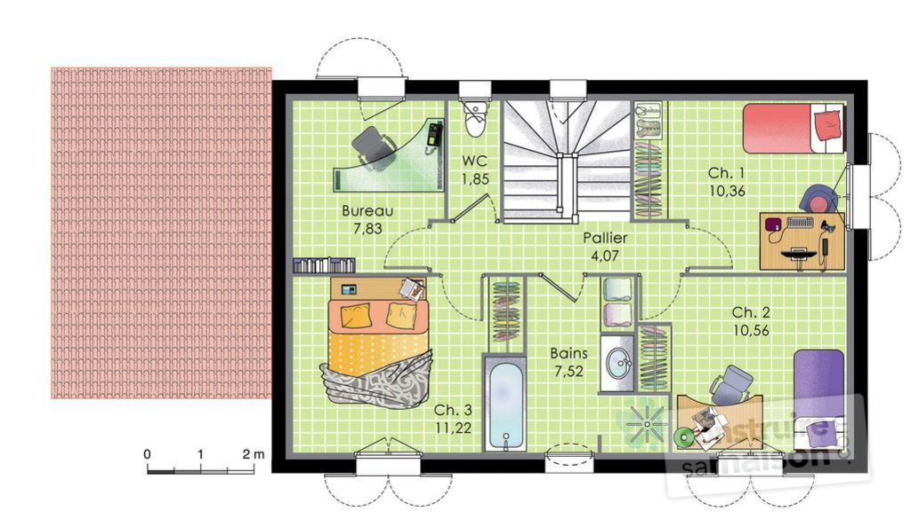 plan maison traditionnelle a etage cy01 jornalagora. Black Bedroom Furniture Sets. Home Design Ideas