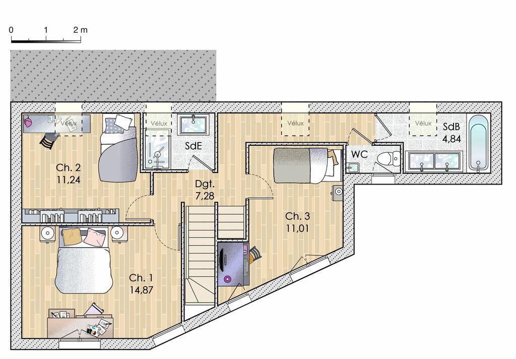Plan de maison : Plans meublés d'une maison sur mesure en Île-de-France | Faire construire sa maison