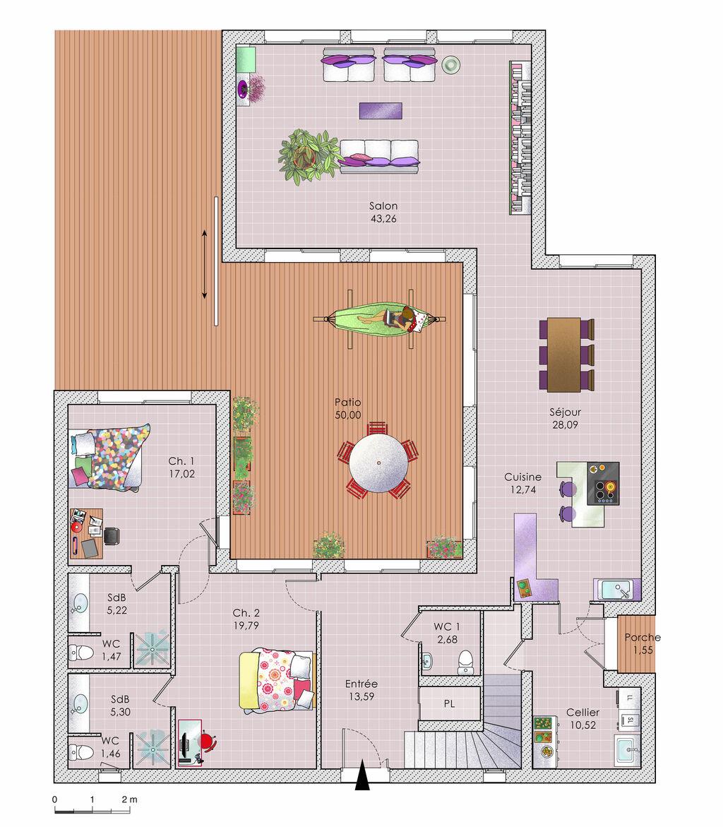 grande maison moderne d tail du plan de grande maison moderne faire construire sa maison. Black Bedroom Furniture Sets. Home Design Ideas