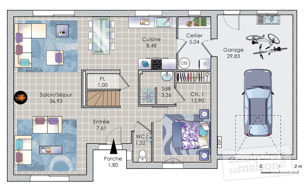 Plan de maison 110m2 avec etage ventana blog for Plan maison 100m2 2 etages