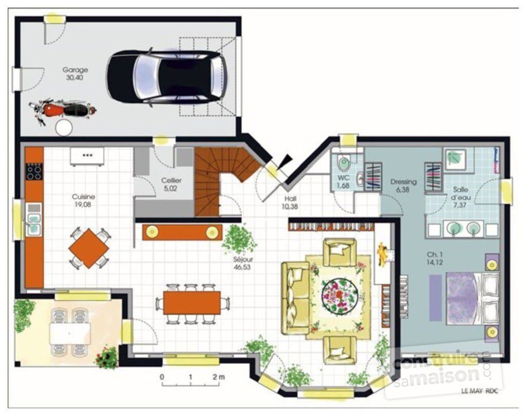 Plan maison etage 200m2 for Plan maison contemporaine etage
