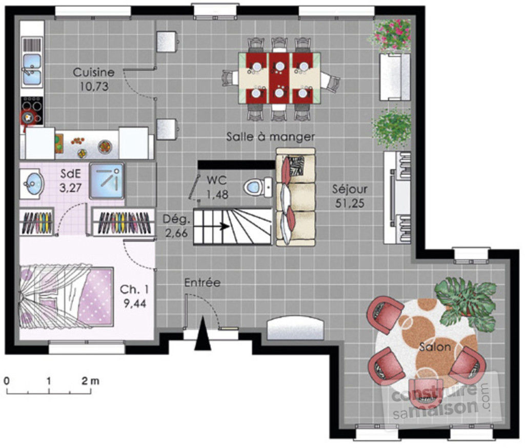 Maison tage 1 d tail du plan de maison tage 1 for Amenager son garage en suite parentale