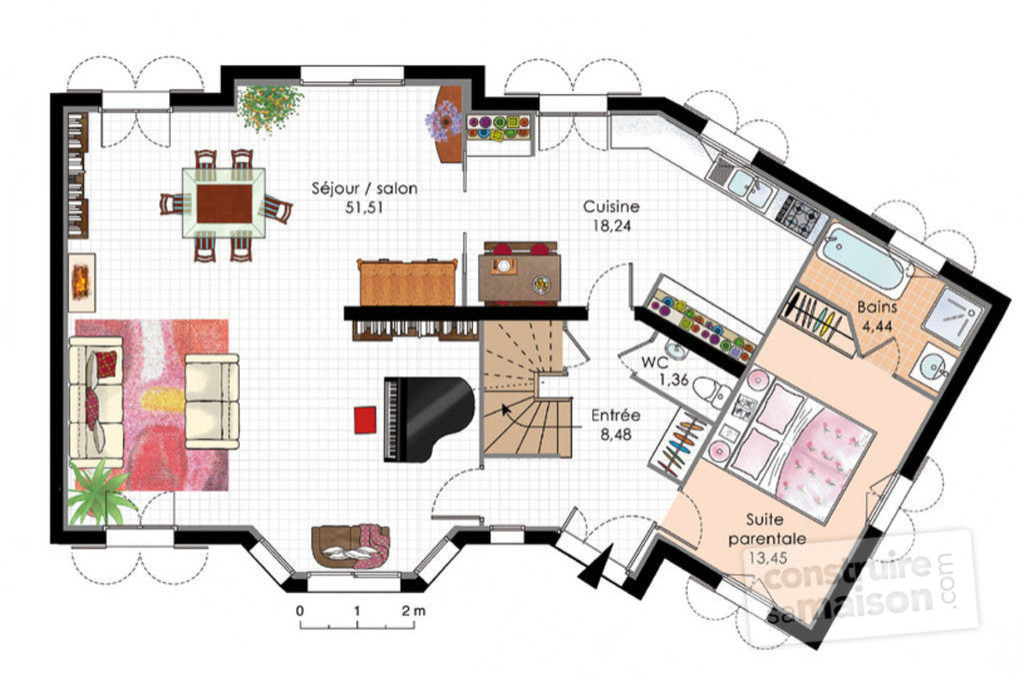 plan maison moderne lumineuse