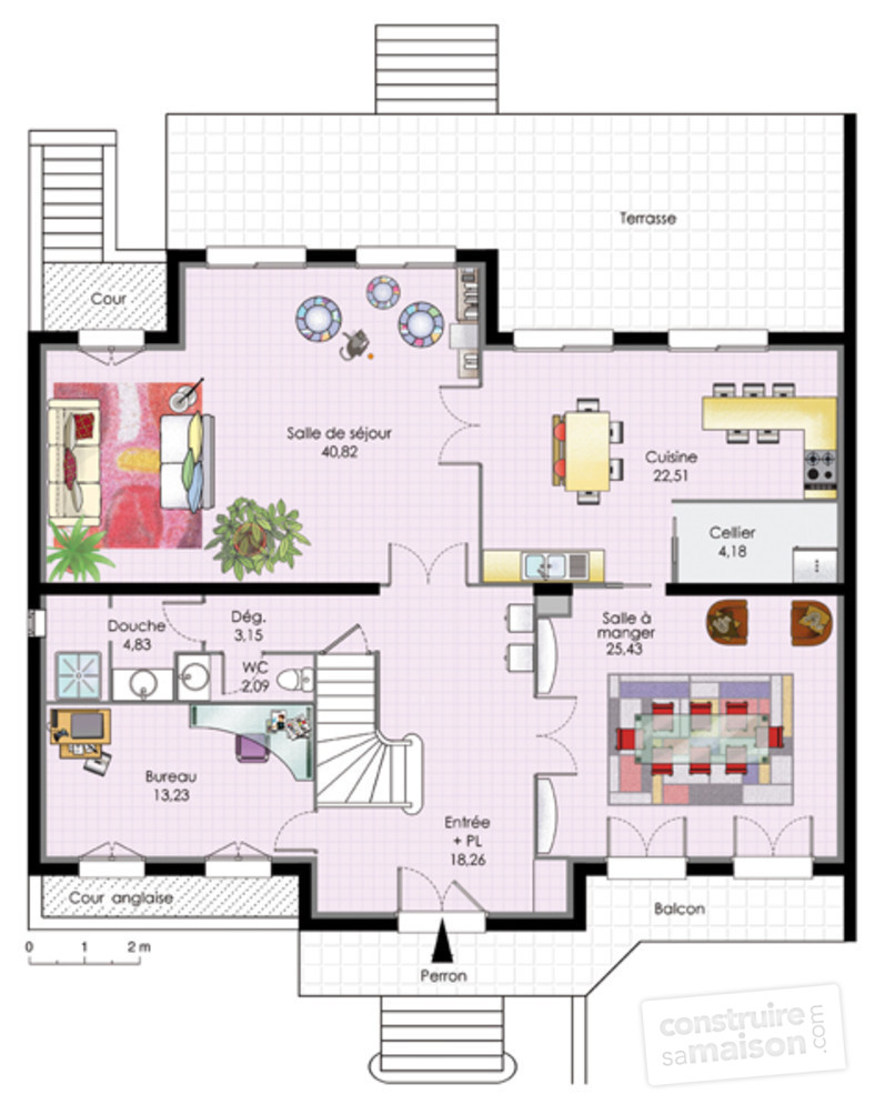 Plan interieur maison etage for Plan maison contemporaine etage