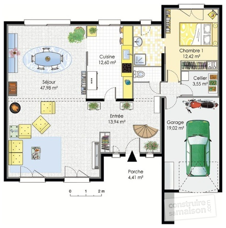 plan maison a etage contemporaine