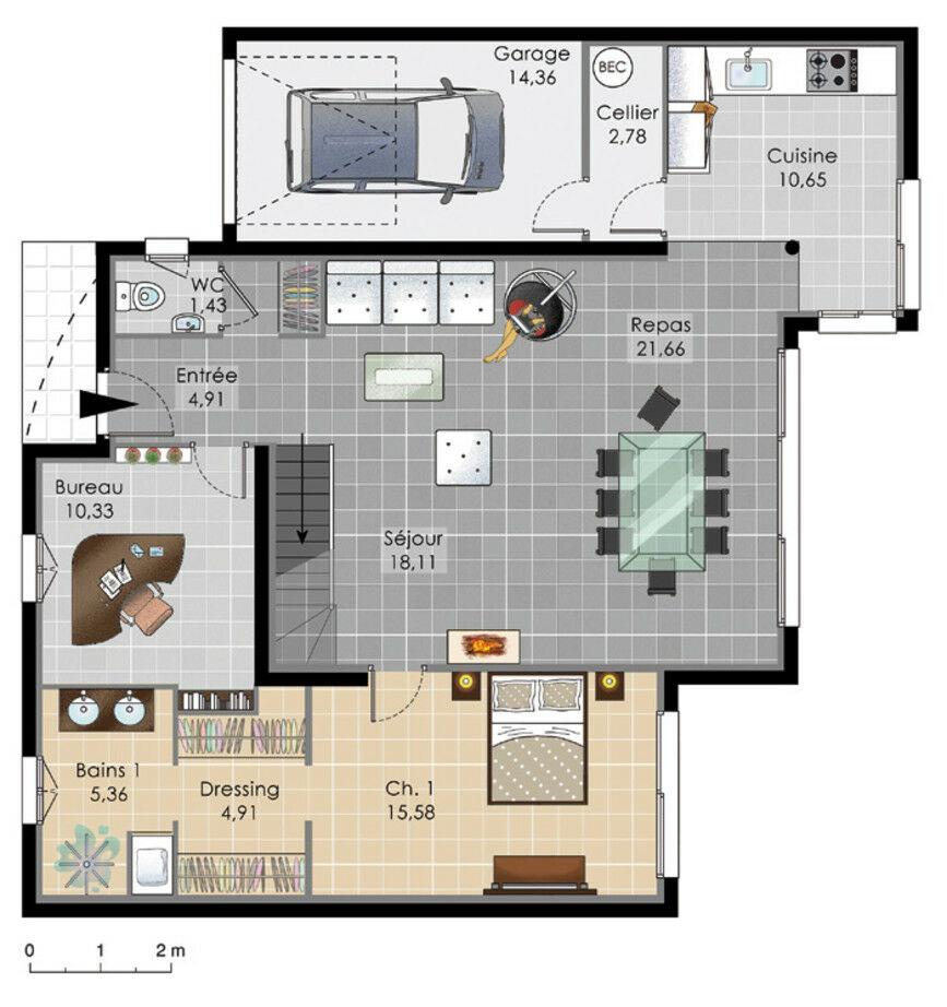 plan maison baie vitree. Black Bedroom Furniture Sets. Home Design Ideas