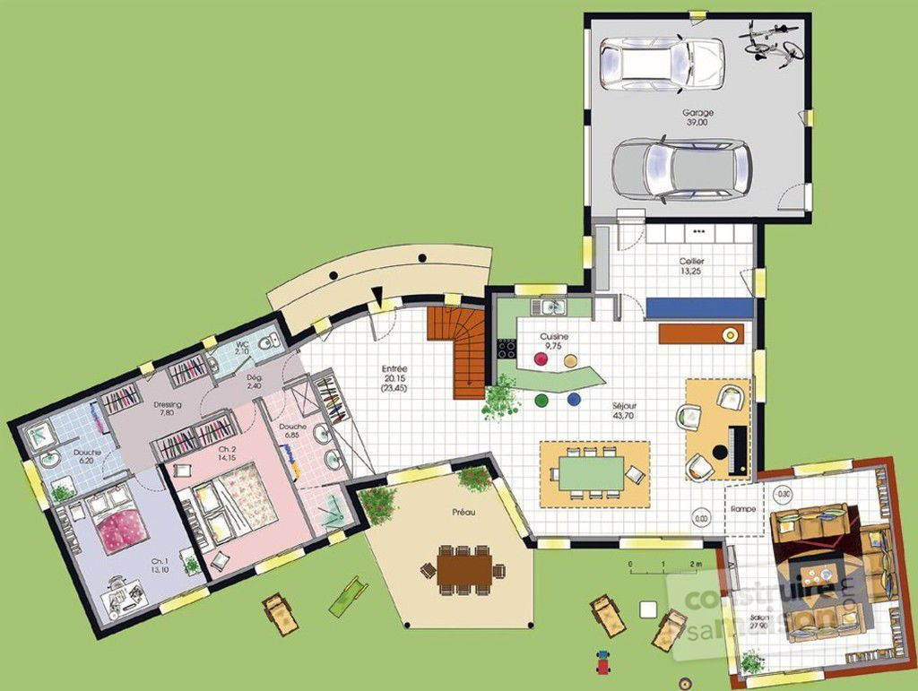 Vaste villa d tail du plan de vaste villa faire for Villa moderne interieur plan