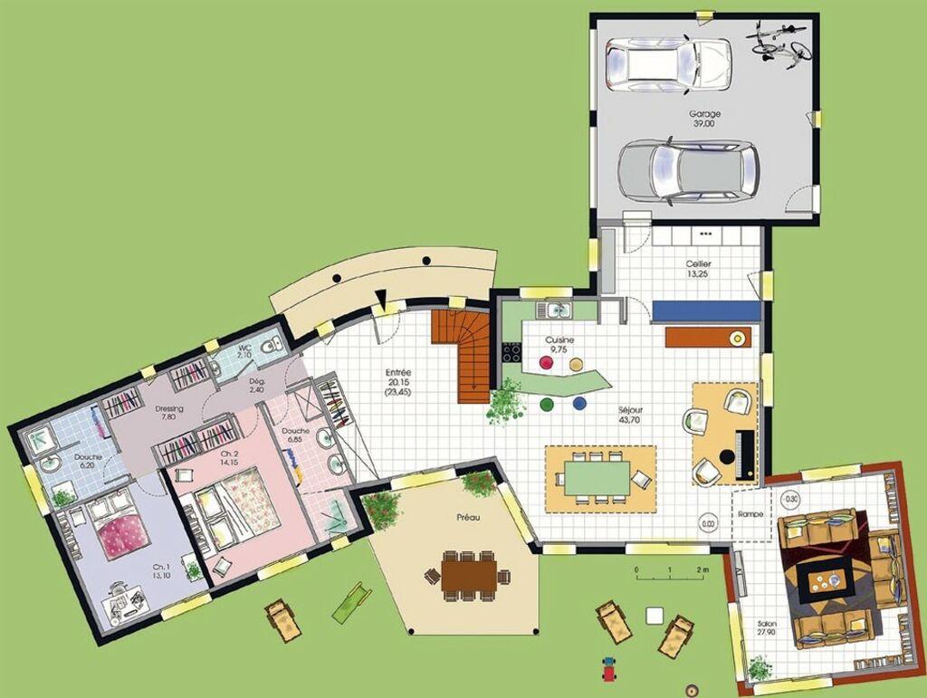 plan de maison italienne. Black Bedroom Furniture Sets. Home Design Ideas
