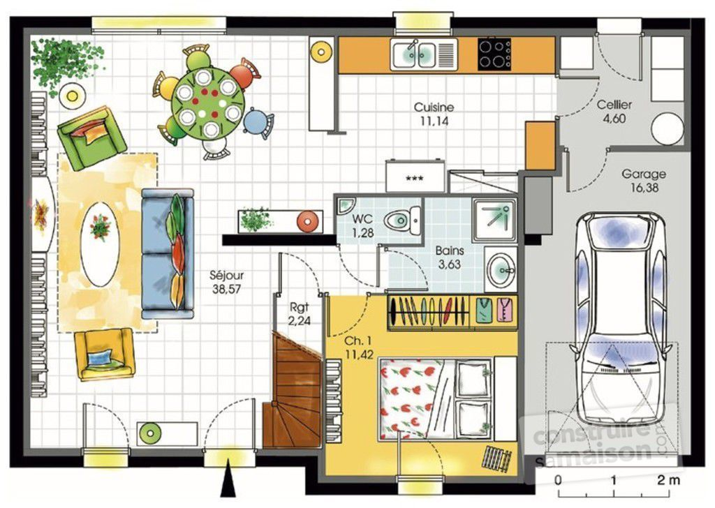 Maison contemporaine 7 d tail du plan de maison for Plans d une maison