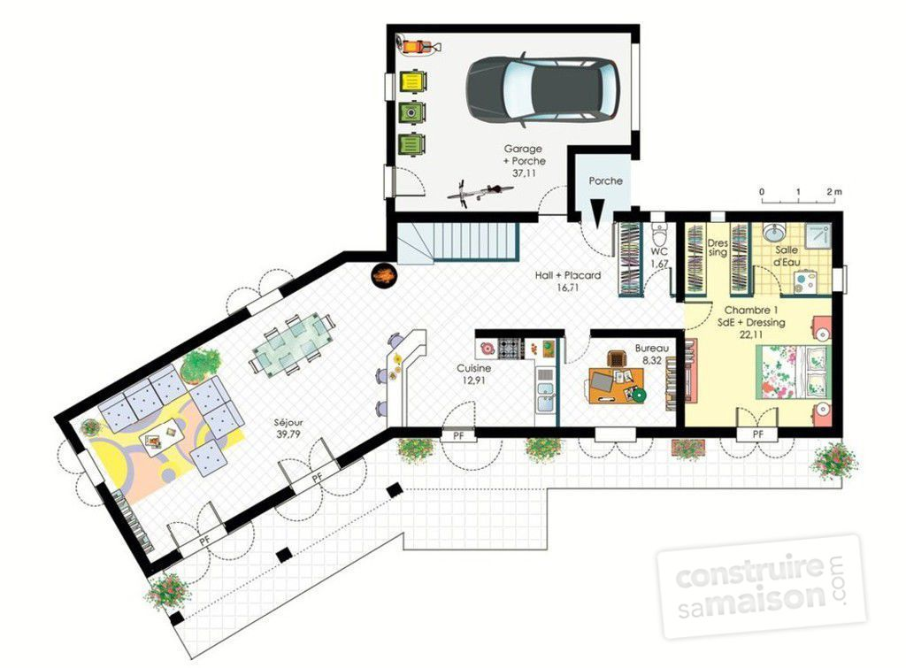 Plan de maison y for Plan maison contemporaine etage