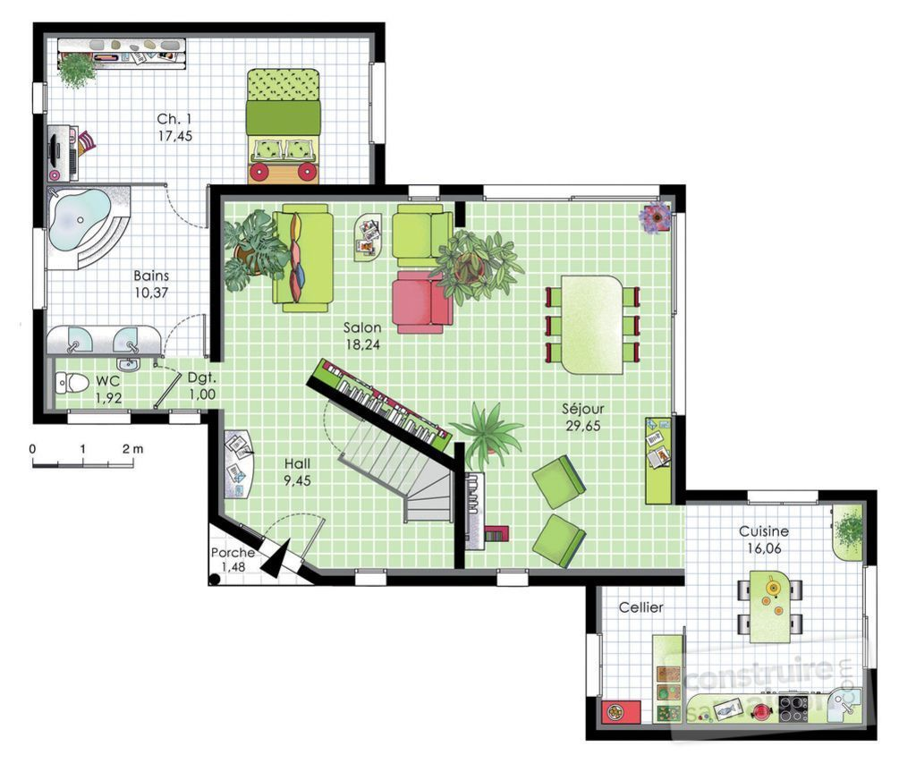 Grande villa contemporaine d tail du plan de grande for Plan villa moderne 200m2
