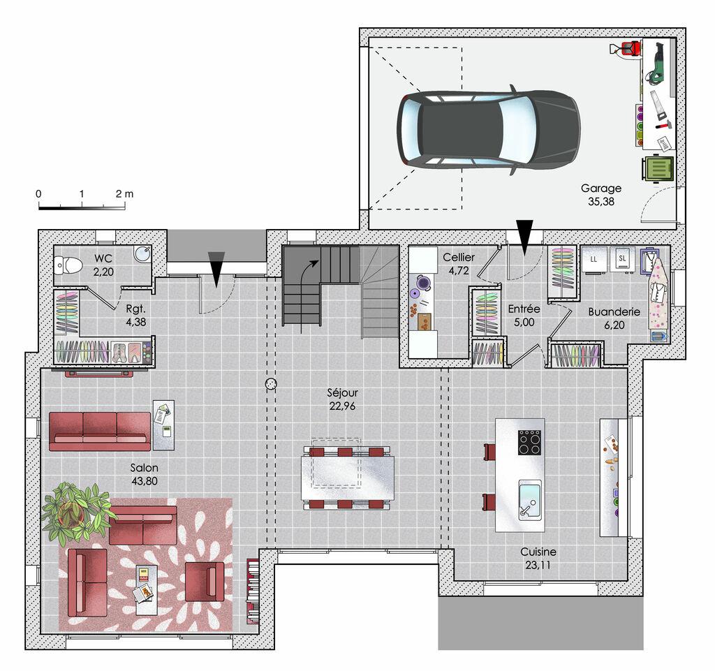 maison zen et sculpturale d tail du plan de maison zen et sculpturale faire construire sa maison. Black Bedroom Furniture Sets. Home Design Ideas