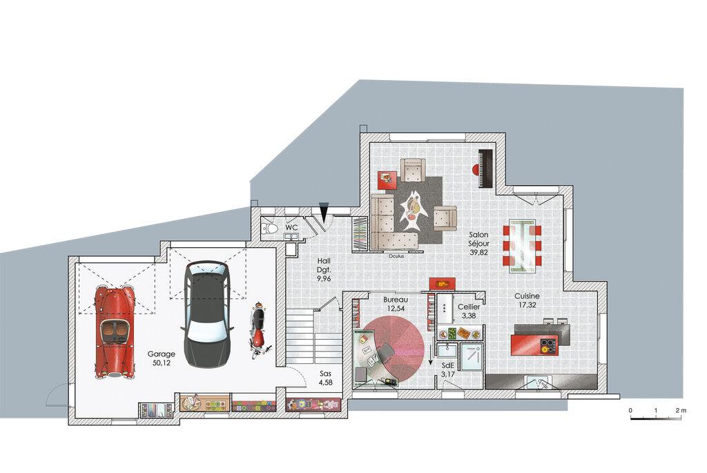 Maison sur trois niveaux - Détail du plan de Maison sur trois ...