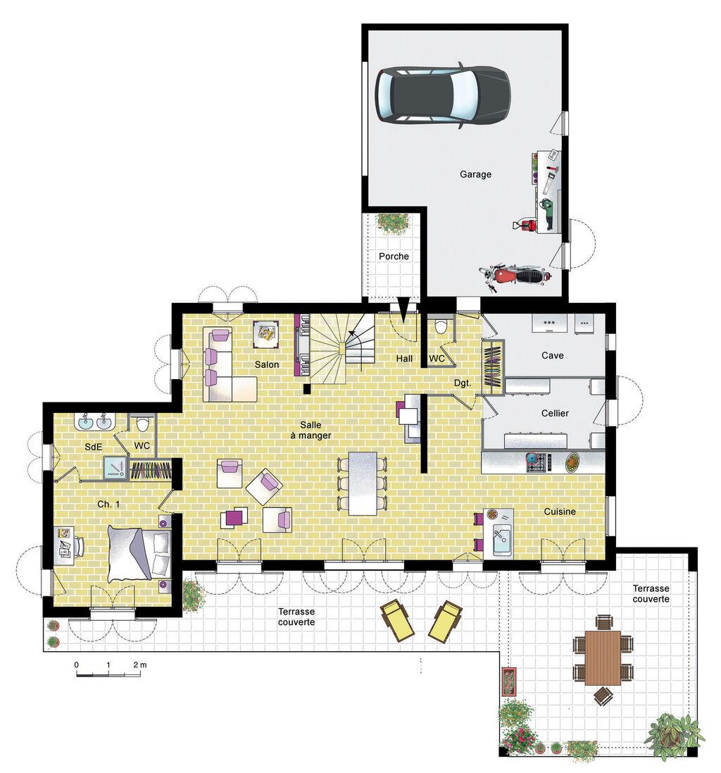 Grande villa proven ale d tail du plan de grande villa for Plan maison villa