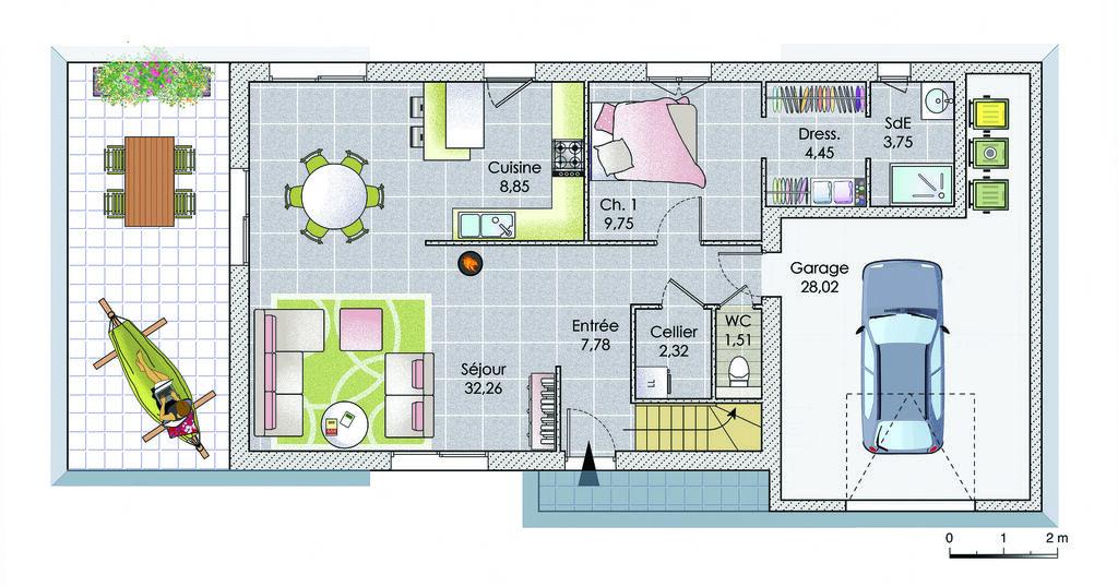 plan maison avec terrasse couverte avie home. Black Bedroom Furniture Sets. Home Design Ideas