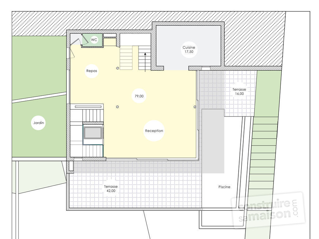 Plan d une maison en etage maison moderne for Plan maison contemporaine etage
