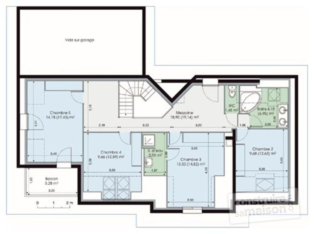 Maison de caract re 1 d tail du plan de maison de for Plan maison 150m2 avec etage