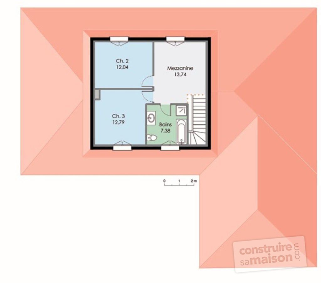 Maison contemporaine 3 d tail du plan de maison for Plan maison etage 2 chambres