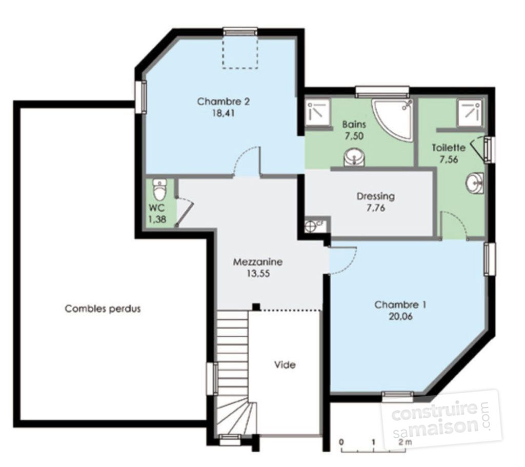 Maison contemporaine 8 d tail du plan de maison for Plan de maison contemporaine a etage gratuit