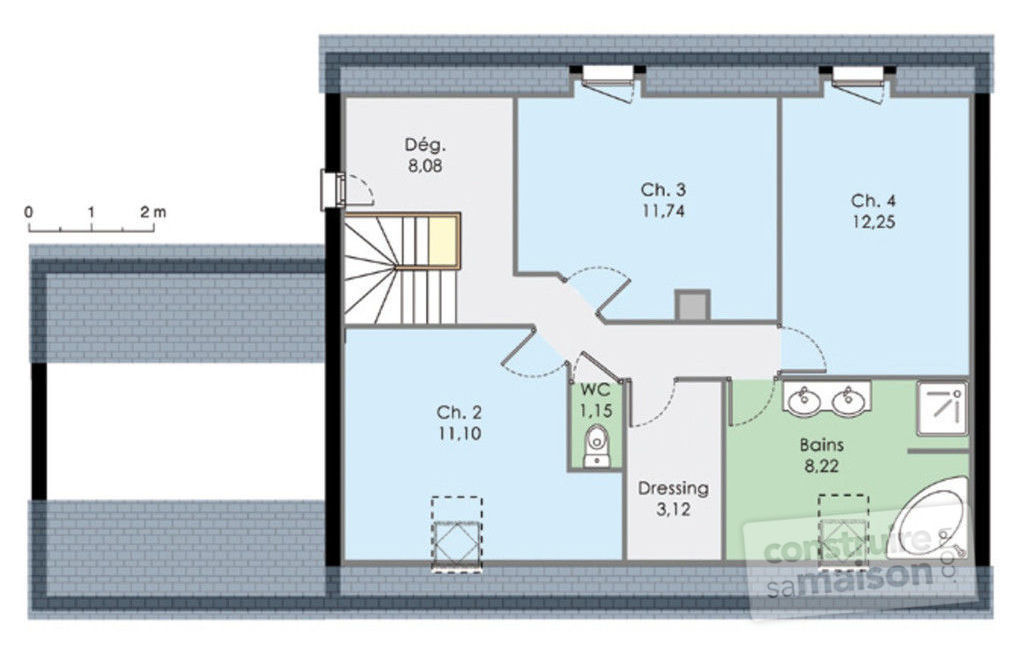 Plan maison 4 pans une grande maison de plainpied 133 m for Plan maison contemporaine etage