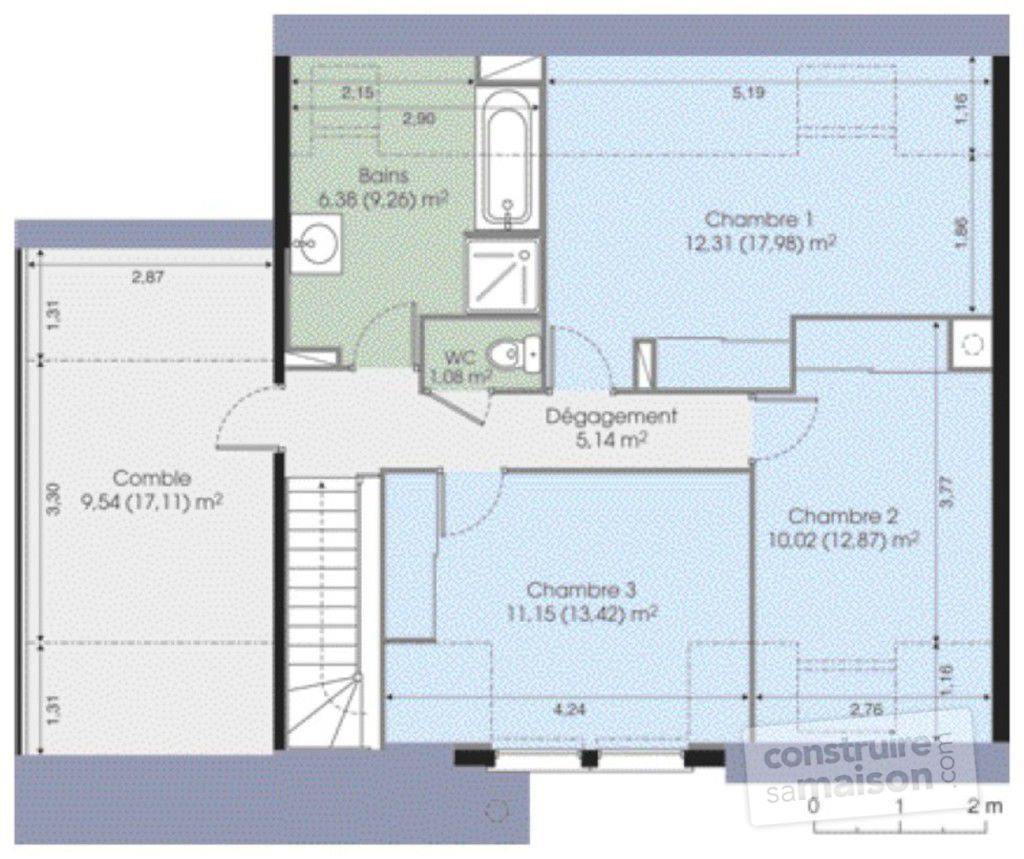Maison contemporaine 5 d tail du plan de maison for Modele maison 2 etage avec garage