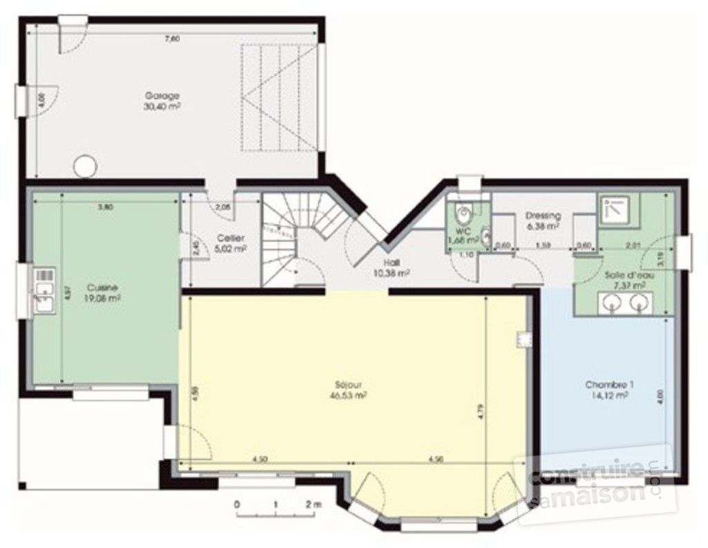 Plan maison etage 200m2 for Une are en m2