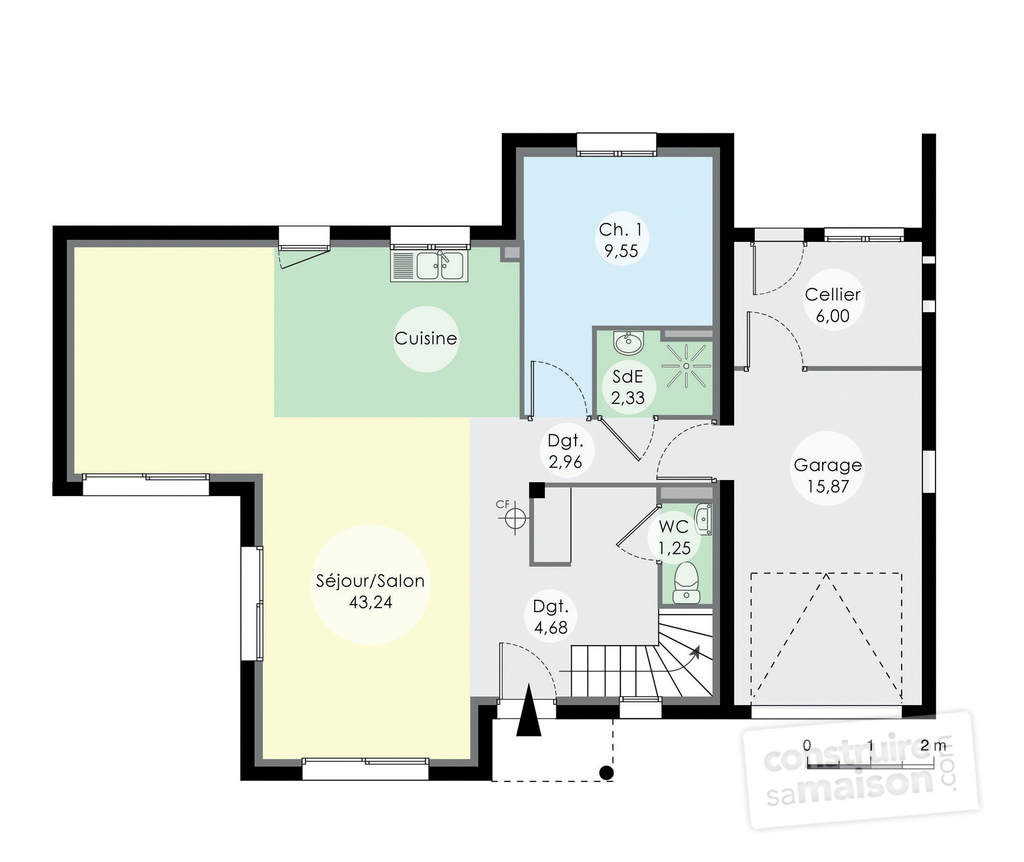Plan rdc maison maison contemporaine 12