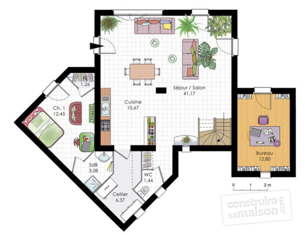 Maison moderne d tail du plan de maison moderne faire for Plan maison design