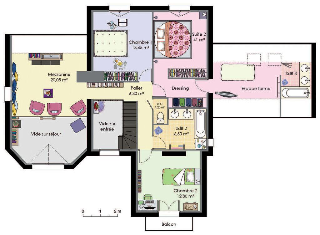 Maison francilienne de caract re d tail du plan de maison francilienne de c - Plan de loft moderne ...