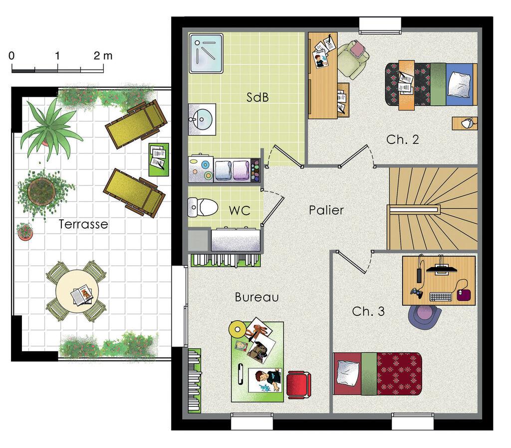 Maison moderne et cologique d tail du plan de maison for Maison moderne etage