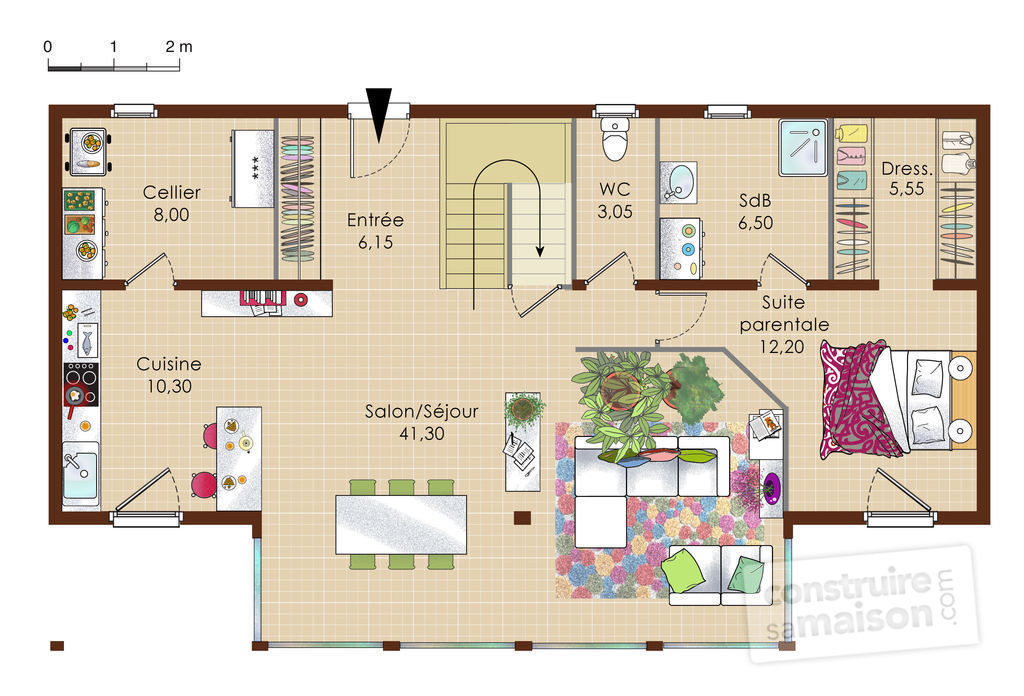 Maison alsacienne ossature bois d tail du plan de for Plan maison suite parentale rdc