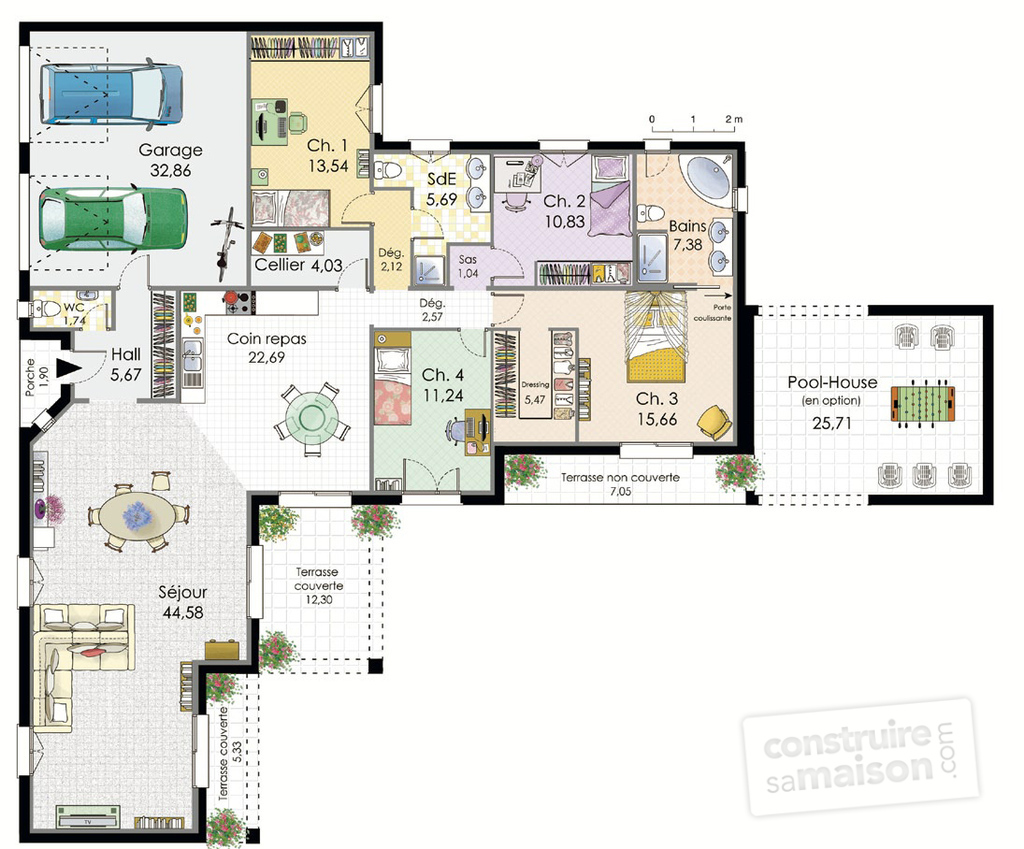 Villa de plain pied d tail du plan de villa de plain for Plan maison architecte plain pied