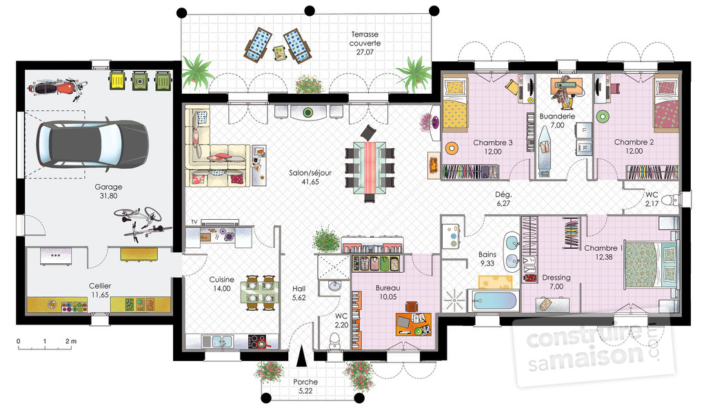 Maison contemporaine 1 d tail du plan de maison contemporaine 1 faire construire sa maison for Plan interieur maison en u