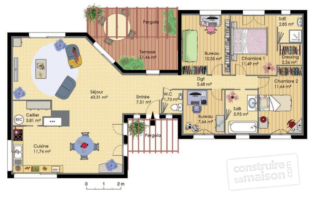 Maison de plain pied bbc d tail du plan de maison de for Exemple plan de maison plain pied