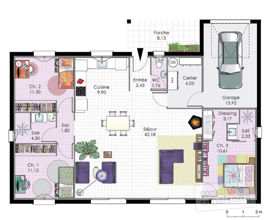 Maison bbc de plain pied d tail du plan de maison bbc de for Plan maison 3 faces