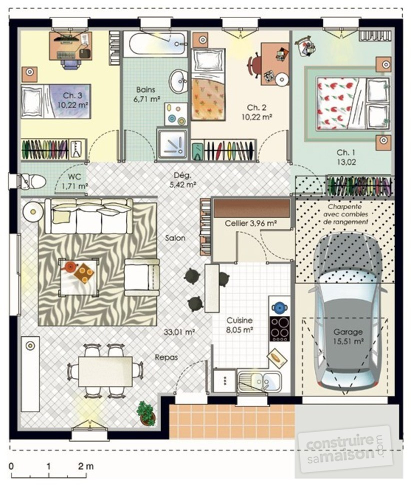 Plan maison 50 m carre for Cuisine 9 metre carre