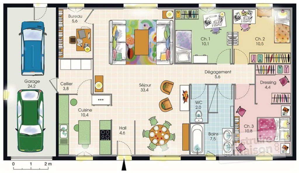 Maison plain pied 1 d tail du plan de maison plain pied for Plan maison 80m2 plein pied