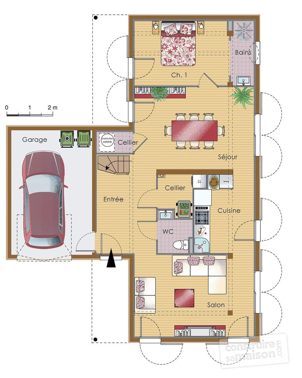 Plan maison moderne en bois for Plan maison sud