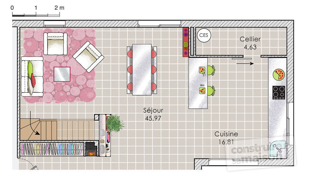 Plan maison sud ouest the inexpensive house is the result for Plan maison sud ouest
