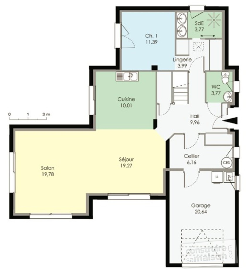 Maison contemporaine 2 d tail du plan de maison contemporaine 2 faire con - Entree bretonne typique ...