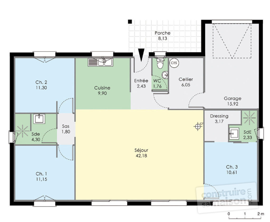 Maison bbc de plain pied d tail du plan de maison bbc de for Plan petite maison contemporaine