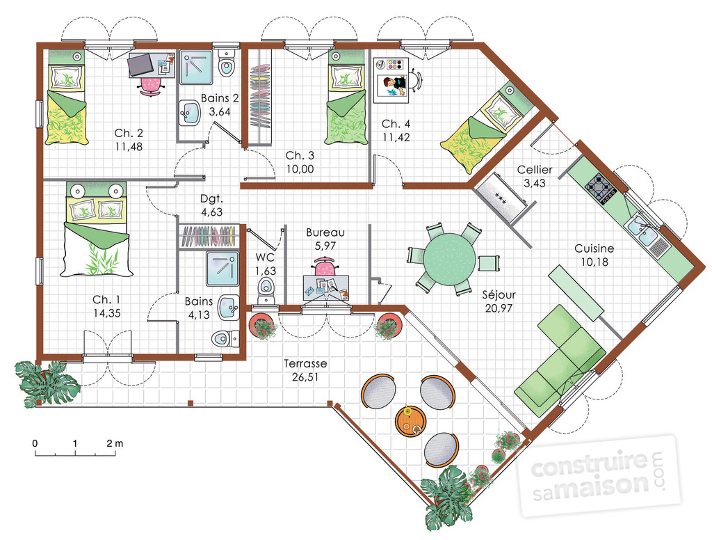 Maison de plain pied 5 d tail du plan de maison de plain for Exemple plan de maison plain pied