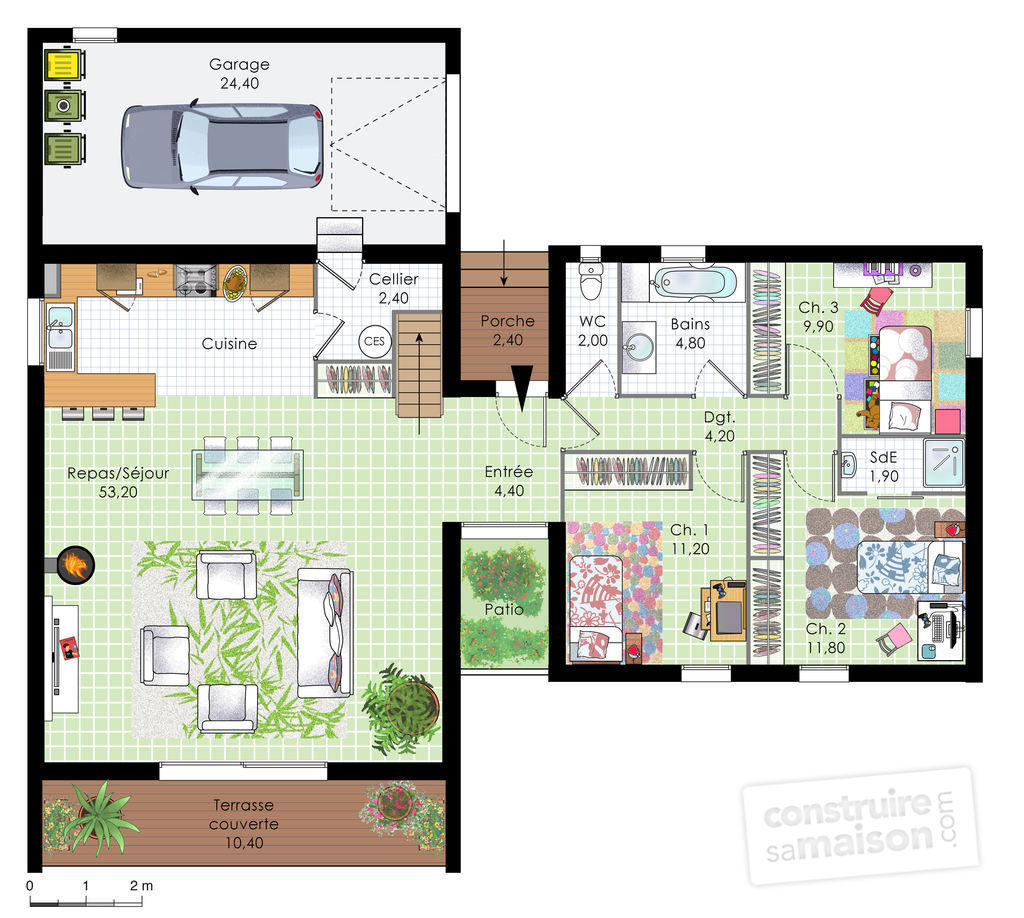 Maison contemporaine en bois d tail du plan de maison for Cuisine longueur 4 m