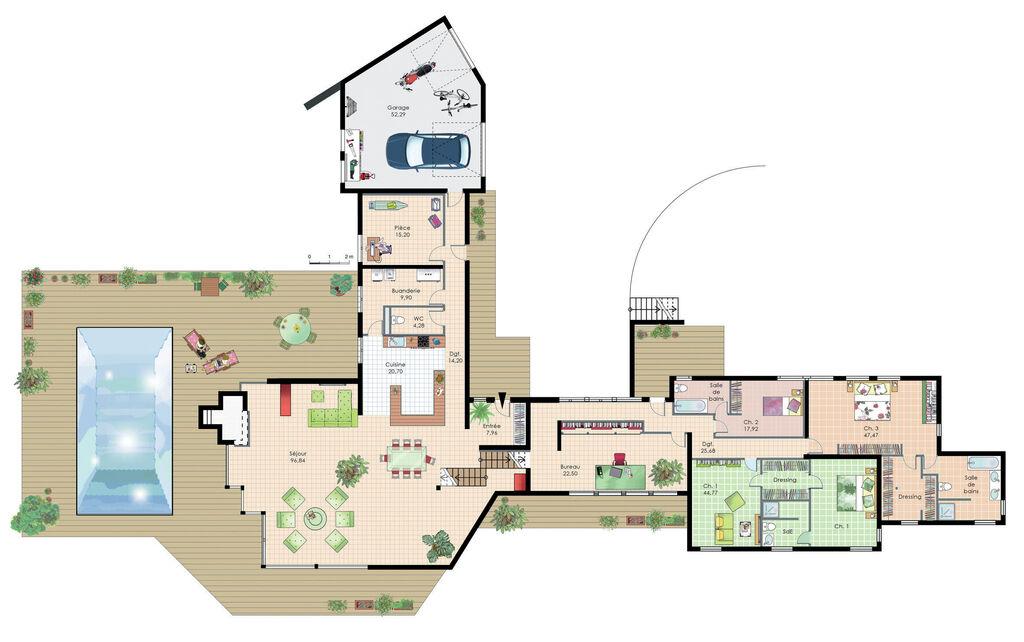 plan maison futuriste